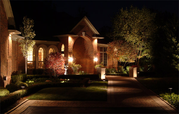 Exterior home lighting design Raleigh